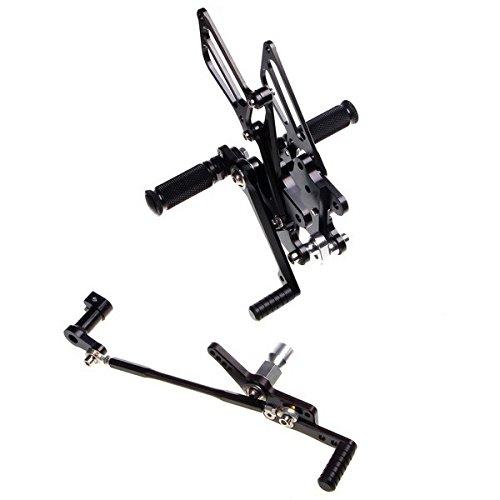 ブラックオートバイ部品CNC完全に調節可能ブラックリアセットペダルPegフィットホンダcbr1000rr 2008 2009 2010 2011   B00NXYFBM2