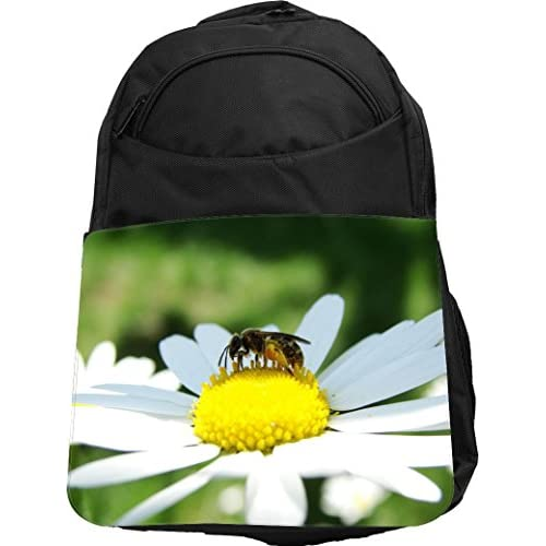 Rikki Knight UKBK Bee on White Daisy Tech BackPack - Padded for Laptops & Tablets Ideal for School or College Bag BackPack