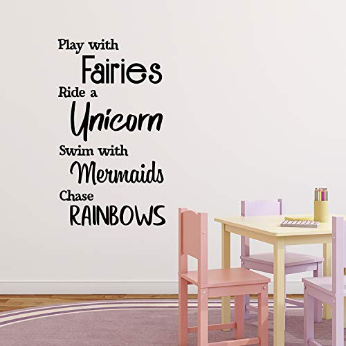Vinyl Wall Art Decal - Play with Fairies Ride with Unicorns