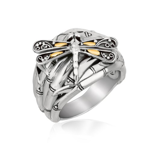 (18K Yellow Gold and Sterling Silver Branches and Dragonfly Motif Ring)