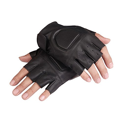 D.King Black PU Leather Mens Half finger Driving Riding Cycling Gloves