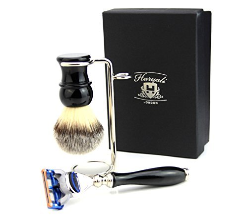 3 Piece shaving Kit(Gillette Fusion Razor & Shaving Brush In Black Base & Stand) by Haryali London