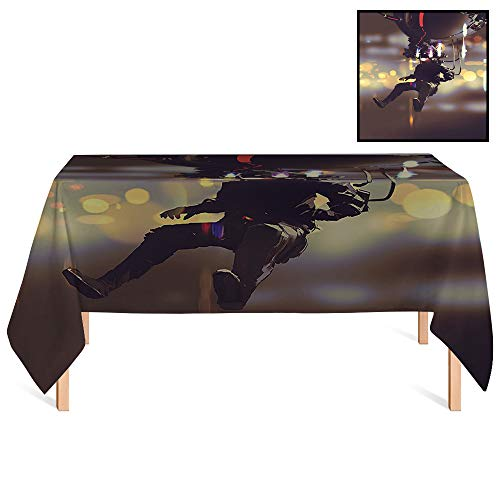 SATVSHOP Oil-Proof Tablecloth /60x104 Rectangular,Fantasy Man with Virtual Reality Futuristic Science Fiction Artificial Intelligence Display for Wedding/Banquet/Restaurant.