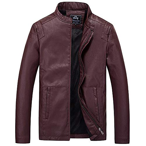 TWGONE Men Business Casual Cool Cool Motorcycle Leather Jacket Zipper And Fleece Facket(X-Large,Wine Red) from TWGONE