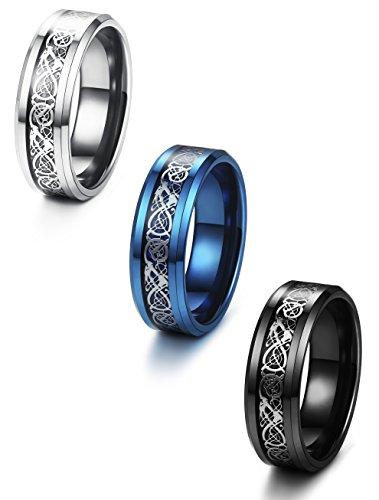 Celtic Wedding Ring Sets - Jstyle 3 Pcs 8mm Stainless Steel Wedding Ring Set Celtic Dragon Rings for Men Size 9