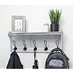 Entryway Seremeo Wall Mounted Coat Rack Shelf – Rustic Grey or Black 26″ Entryway Shelf with 5 Coat Hooks – Solid Pine Wood – Ideal for Your Entryway, Mudroom, Bathroom, Laundry and More.