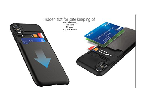 iPhone X Case Schutzhülle Schwarz - KHOMO iPhone X Hülle mit Secret Geldbörse Brieftasche Portemonnaie Schwarzes nur für neue 5.8 Zoll Bildschirm Handy 2017 Apple iPhone X - Pandora Case Black