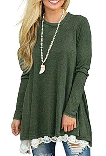 Womens Green Trim Lace Round Long Swing Mini Hem Army Dress Jaycargogo Neck Sleeve dw7xRqWB1