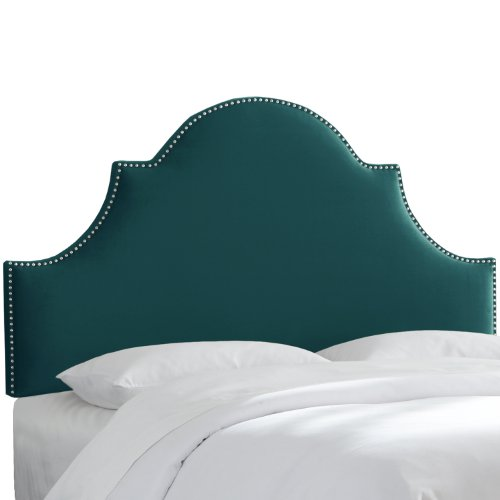 Skyline Furniture Nail Button High Arch Notched Headboard, Queen, Mystere Peacock Arch Nail Button Headboard