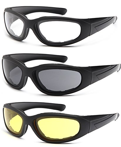 TRUST OPTICS Vizgard 3 Pairs Motorcycle Riding Glasses Safety Goggles with Anti Fog UV400 Protection in Clear, Yellow, Smoke Lenses