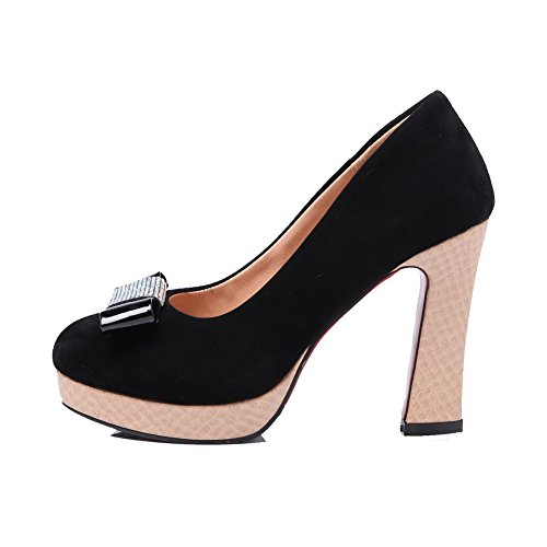 Shoes Pull VogueZone009 Toe Heels High Imitated Women's Solid Pumps Suede Closed on Round Black qqzTFw
