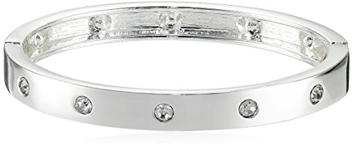 Guess Narrow Hinge with Crystal Silver Bangle Bracelet -