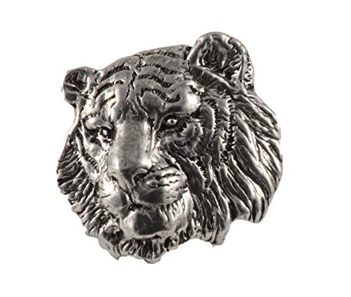 Tiger Head Mammal Pewter Lapel Pin, Brooch, Jewelry, M108