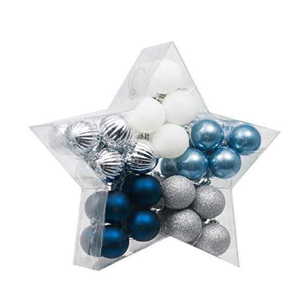 Valery Madelyn Palle di Natale 40 Pezzi 4 cm Addobbi Natalizi per Albero, Auguri Invernali Argento e Blu Ornamenti di Palla di Natale Infrangibili di Base 1 spesavip
