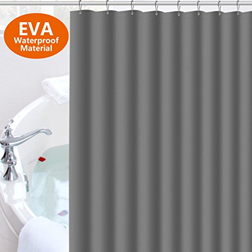 Gray Shower Curtain liner Tusscle,EVA Plastic Mildew Resistant Non-toxic Waterproof,Gray Non-Transparent 72x72 Inch,With 12pcs Rust Proof Stainless Steel - Gray Transparent