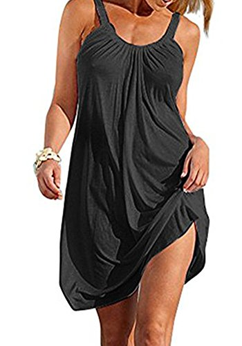 Poulax Women#039s Summer Causal Solid Color Beach Dress Swimsuit Bikini Cover UPSFBA OneSize Black
