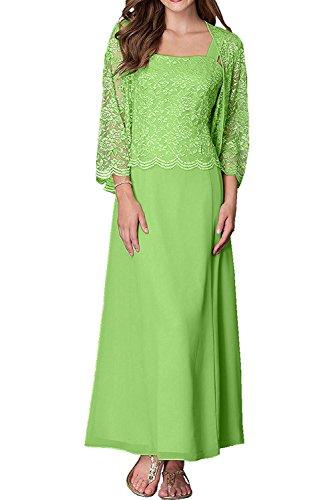 Mit Langarm Zwei Gruen Abendkleider Brautmutterkleider Spitze Damen Grün Partykleider Charmant traeger Jaket Zqw8Atztx