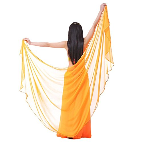 AvaCostume Chiffon Solid Color Dance Veils Belly Scarves, Orange