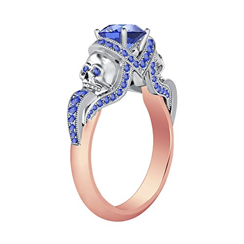 Smjewels 1.52Ct Tanzanite CZ Diamond 14K Rose & White Gold PL Engagement Two Skull Desing Ring