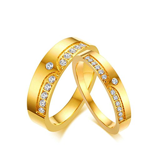 Gnzoe COUPLES Stainless Steel Cubic Zirconia Wedding/Engagement Ring Gold Plated Flat 6MM Men-Size 8 by Gnzoe