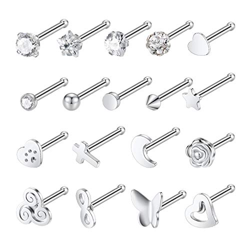 - Kangyijia 20G 18Pcs Cross Infinity Nose Studs Screw Heart Moon Nose Stud Star Nose Bone Stud Piercing Jewelry Silver