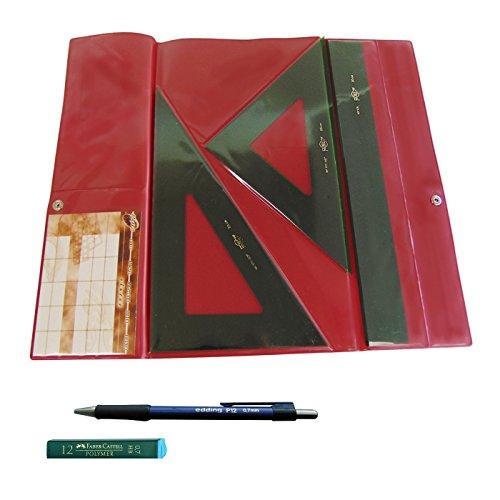 Faibo Pack Lote Estuche Técnico Verde Juego Compuesto Por Regla 30 Cm GRADUADA, Escuadra Y Cartabón De 25 Cm SIN GRADUAR…