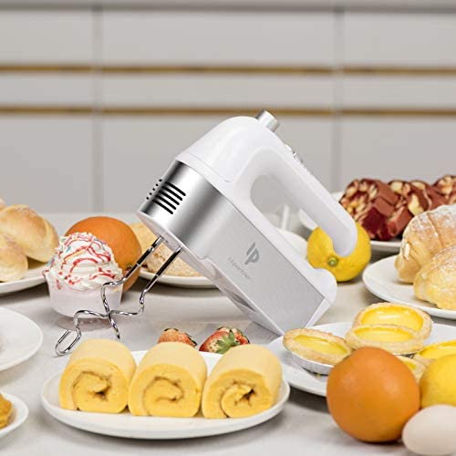 412qW0468JL. AC Hand Mixer Electric, 450W Kitchen Mixers with Scale Cup Storage Case , Turbo Boost / Self-Control Speed + 5 Speed + Eject Button + 5 Stainless Steel Accessories, For Easy Whipping Dough, Cream , Cake    Product Description