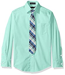 Dockers Big Boys\' Long Sleeve Broadcloth Packaged Shirt and Tie Set, Cabbage, 12
