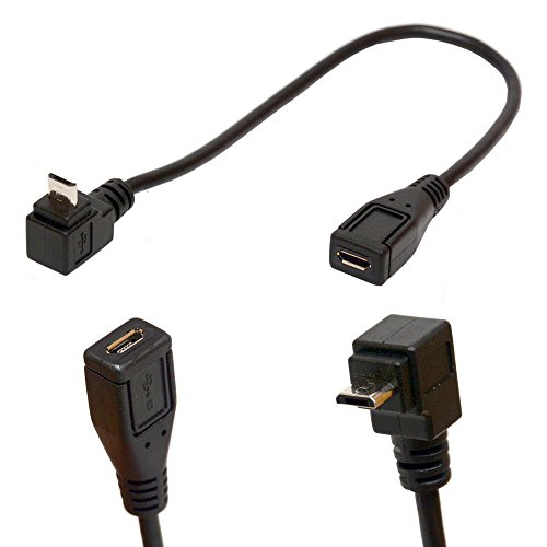 Micro B 5 Pin right angle 90 degree Extension Cable Male to Female adapter 25cm Syncing & Charging USB Cable (DOWN)
