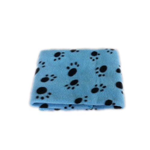 SPHTOEO Cute Pet Puppy Dog Cat Blue Blanket Bed Mat (Black Paw Prints) Blue Puppy Blanket