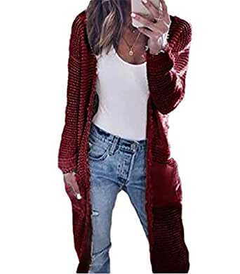 Women Casual Open Front Long Sleeve Chunky Knit Cardigan Sweater with Pocket 1 XS