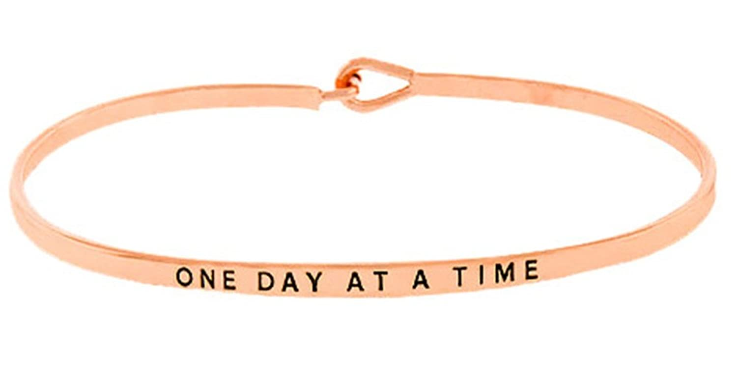 """One Day At A Time"" Inspirational Positive Message Engraved Thin Brass Bangle Hook Bracelet for Best Friends, BFF Besties"