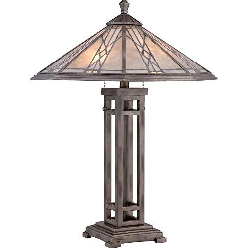 (Quoizel MCCS6326AS Cyrus Stained Glass Tiffany Table Lamp, 2-Light, 120 Watts, Anniversary Silver (26