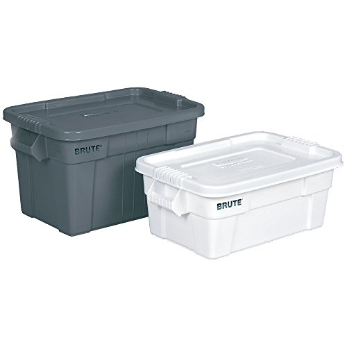 Rubbermaid 20 gal White Plastic Brute Tote With Lid - 27 7/8 L x 17 3/8 W x 15 1/8 D by Rubbermaid Commercial Products