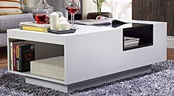 Amazon Com Cofee Table Matte White Wood With Accented Black