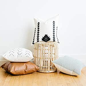 Surprising Woven Nook Decorative Throw Pillow Covers Pack Of 4 For Couch Sofa Or Bed Set 100 Cotton Stripes Geometric Faux Leather Amaro Set 18 X 18 Inzonedesignstudio Interior Chair Design Inzonedesignstudiocom