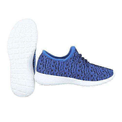 Ital-Design Sportschuhe Damenschuhe Geschlossen Sneakers Schnürsenkel Freizeitschuhe Blau