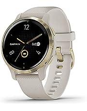 Garmin Venu 2S smartwatch GPS do monitorowania kondycji, jasnozłota ramka i jasnopiaskowa koperta