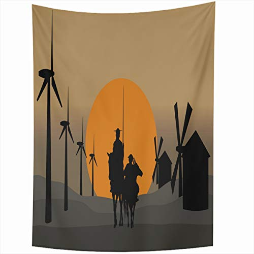 Ahawoso Tapestry Wall Hanging 50x60 Inches Horizonts Toledo Don Quixote De La Mancha Energy Spain Cervantes Sancho Ancient Andante Caballero Home Decor Tapestries Art for Living Room Bedroom Dorm