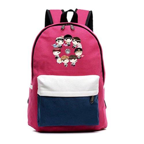 V Print Cartoon Bts Backpack Red Boys Bangtan Schoolbag Jimin Canvas Casual Suga HO8g8q5wx