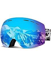 PUNZYMO Ski Goggles Anti-fog UV Protection Professional REVO Mirror Lens with Over Glasses OTG For Skiing & Snowboard for Men & Women