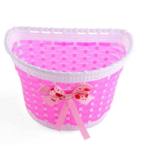 Linpote Hand Woven Plastic Bik Bicycle Front Basket for Kids Toddlers Girls (Pink)