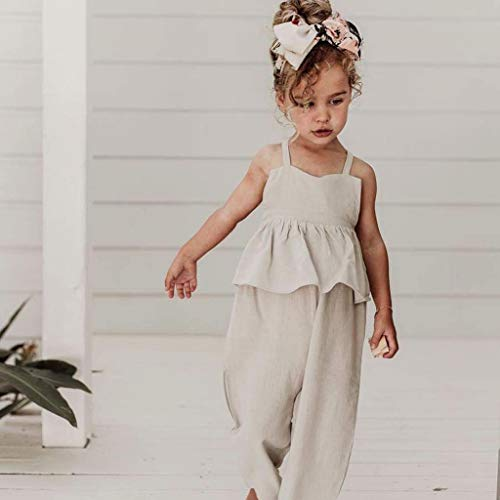 Womola 2PCS Fashion Toddler Kids Baby Girl Clothes Outfit sleeveless Halter Sling Ruffled Romper Jumpsuit