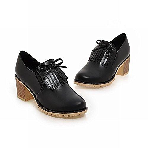 Latasa Womens Tassel Slip on Block Heel Shoes Black cemJD