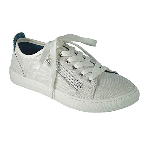 Angelina Womens Shimmer and Rhinestone Lace-Up Sneaker White t7Qz4l0tSx