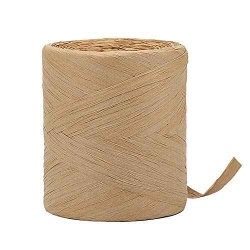 Tenn Well Packing Paper Twine, 1/4 Inch by 218 Yards Natural Raffia Ribbon for Crafts, Gift Wrapping, DIY Decoration (Kraft)