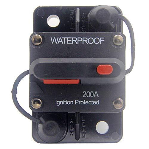 ANJOSHI 200 Amp Circuit Breaker 20A-300A with Manual Reset Waterproof Inline Fuse Inverter for Marine Trolling Motors Boat ATV Manual Power 12V-36VDC ()