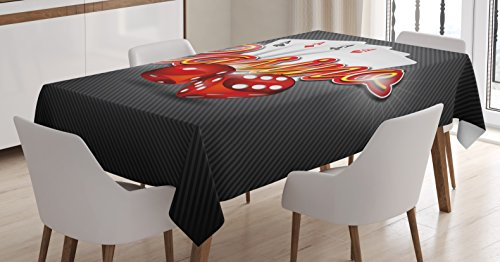 (Ambesonne Poker Tournament Decorations Tablecloth, Vibrant Dices and Playing Card Casino Theme Luck Risky Game, Dining Room Kitchen Rectangular Table Cover, 60 W X 90 L inches, Multicolor)