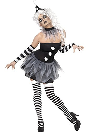 Ladies Sexy Sinister Clown Black/White Scary Circus Halloween Fancy Dress Costume Outfit UK 8-18 (UK 12-14) -