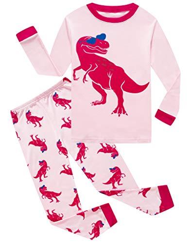 Family Feeling Little Girls Dinosaur Pajamas Short Sets 100% Cotton Toddler Kid 2T